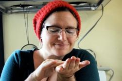 Cheyenne enjoying hand salve aromatherapy