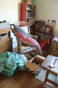 Herman the sockeyed salmon pillow, watching us unpack boxes