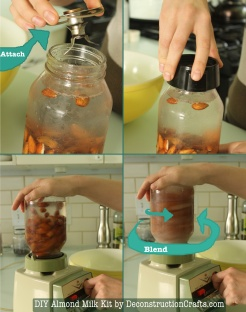 If you have not tried this before, make sure to test the sealing by flipping your jar over (so that the jar is upside down) over the sink and check for drips. If your jar full of almonds and water doesn't leak, then it should work fine on your blender.