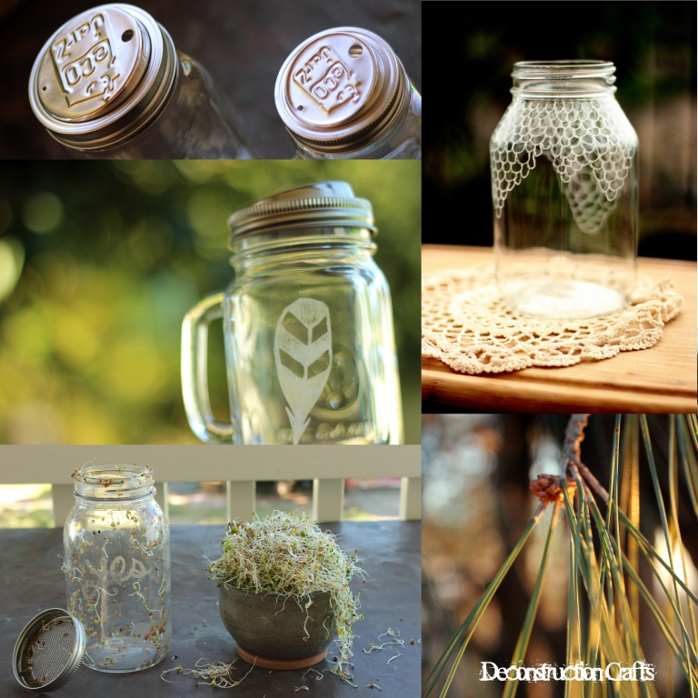 Hand etched designs and mason jar homesteading kits by Deconstruction Crafts