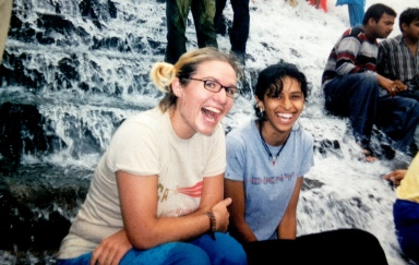 Cheyenne and Sneha at Bhushi dam falls